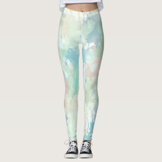 Mint Blue Watercolor Splashes Leggings