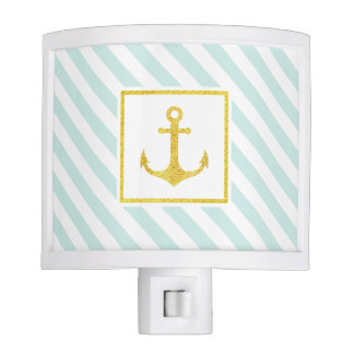 Mint Blue White Stripes Faux Glitter Anchor Nite Light