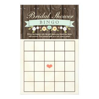 Mint Boho Rustic Bridal Wedding Shower Bingo Sheet