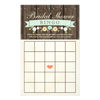 Mint Boho Rustic Bridal Wedding Shower Bingo Sheet Flyers
