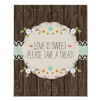 Mint Boho Rustic Wedding Shower Candy Bar Sign Poster