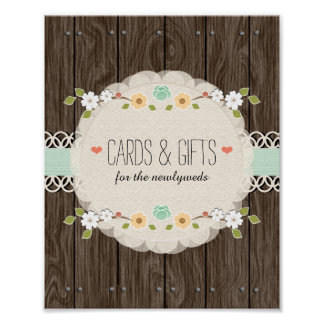 Mint Boho Rustic Wedding Shower Cards Gifts Sign Poster