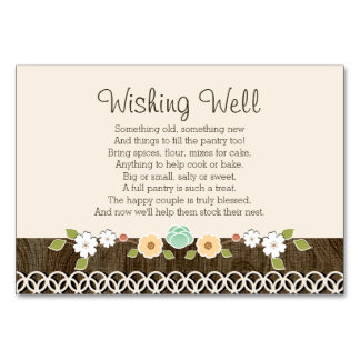 Mint Boho Rustic Wedding Shower WISHING WELL CARD Table Cards