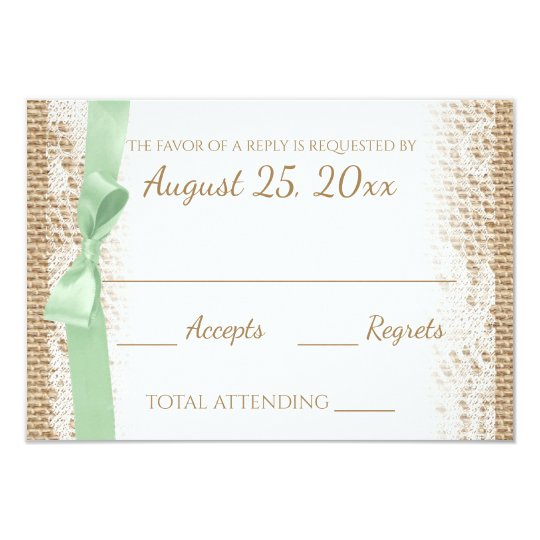 Mint Bow Lace and Burlap Reply Card