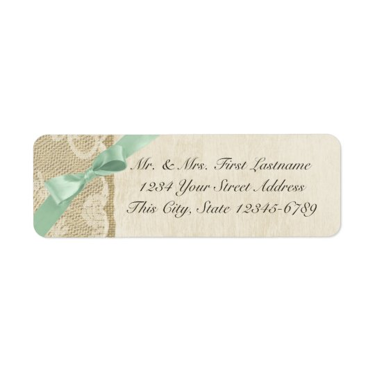 Mint Bow, Lace and Burlap Rustic Country Return Address Label