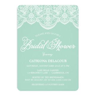 Mint Brocade Lace Bridal Shower Invitation