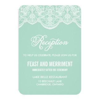 Mint Brocade Lace Wedding Reception Card