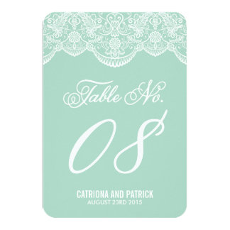 Mint Brocade Lace Wedding Table Number Cards