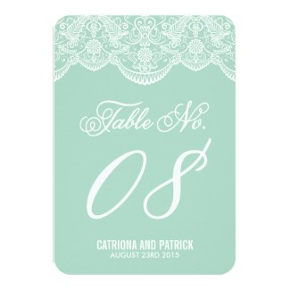 Mint Brocade Lace Wedding Table Number Cards Personalized Announcement