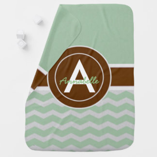 Mint Brown Chevron Baby Blanket