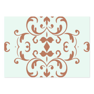 Mint Brown Damask Flourish Pattern Business Cards
