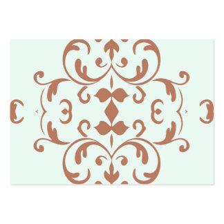 Mint Brown Damask Flourish Pattern Business Cards