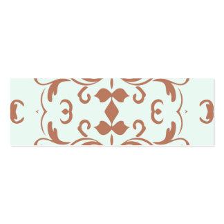 Mint Brown Damask Flourish Pattern Mini Business Card