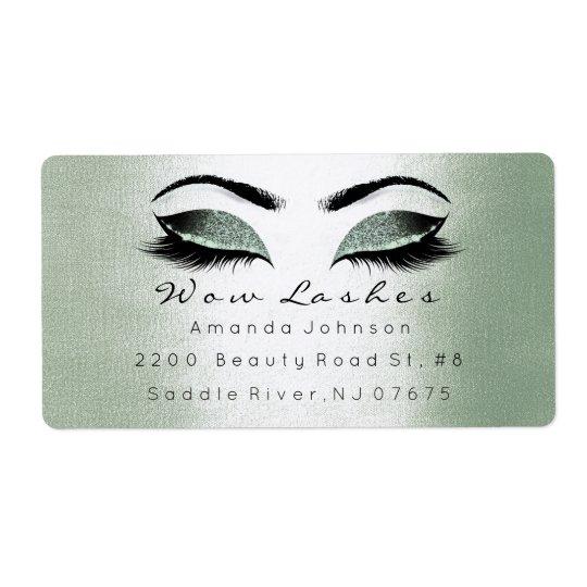 Mint Cali Green Glitter Makeup Lashes Extension