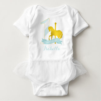Mint Carousel Horse Birthday Girl Baby Bodysuit