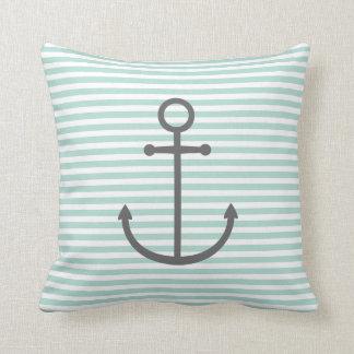 Mint & Charcoal Nautical Stripes & Cute Anchor Throw Pillow