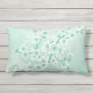 Mint Cherry Blossoms Floral Lumbar Pillow