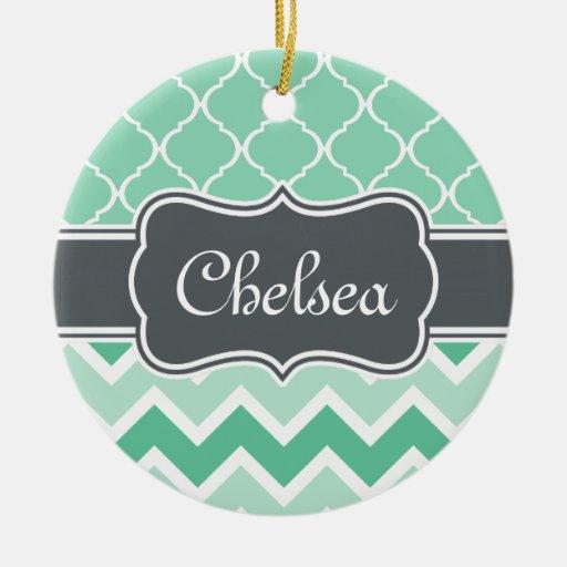 Mint Chevron and Lattice Pattern Grey Name Ornament