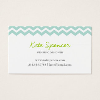 Mint Chevron and Polka Dot Business Card