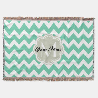 Mint Chevron Custom Monogram, Personalized Name Throw Blanket