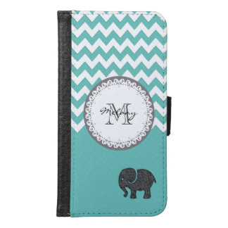 Mint chevron Cute trendy girly monogram elephant Samsung Galaxy S6 Wallet Case