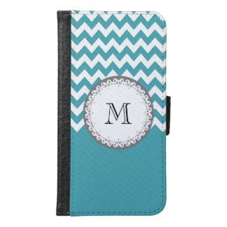 Mint chevron Cute trendy girly monogram Samsung Galaxy S6 Wallet Case