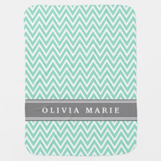 Mint Chevron Grey Name Template Baby Blanket