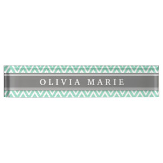 Mint Chevron Grey Name Template Nameplate