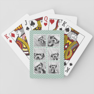Mint Chevron Pattern with Trendy 6 Photo Collage Playing Cards