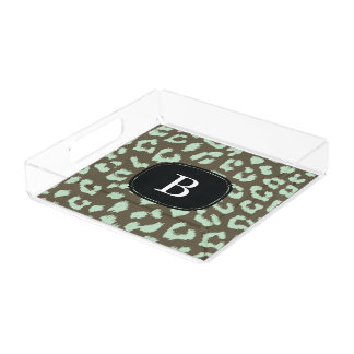 Mint Chocolate Leopard Print Tray with Monogram