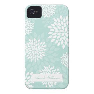 Mint Chrysanthemums Floral Pattern iPhone 4 Case-Mate Case