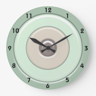 Mint & Coffee Circles & Bullseye with numbers Large Clock