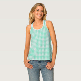 Mint color, Geometric Triangles pattern design Tank Top