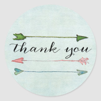Mint Coral Arrows Calligraphy Thank You Sticker