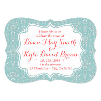 Mint Coral Damask wedding invitation