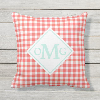 Mint Coral Gingham Pattern Outdoor Pillow Monogram