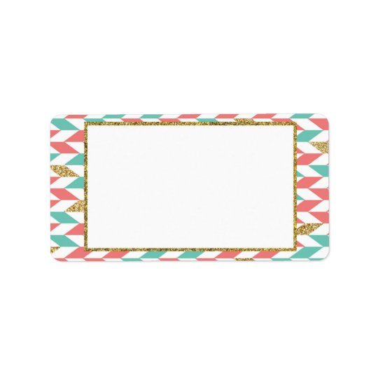Mint Coral Gold Chevron Scatter Address Labels
