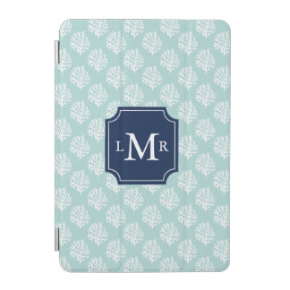 Mint Coral Reef Pattern and Monogram iPad Mini Cover