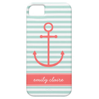 Mint & Coral Stripes & Anchor Monogram iPhone 5 Case
