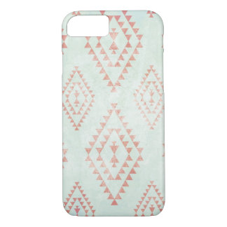 mint & coral tribal pattern iPhone 7 case