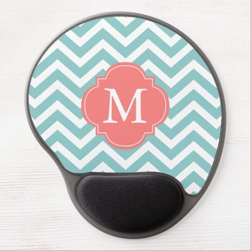 Mint & Coral Zigzags Pattern Monogram Gel Mouse Pads