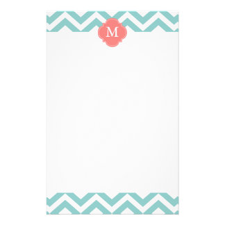 Mint & Coral Zigzags Pattern Monogram Stationery