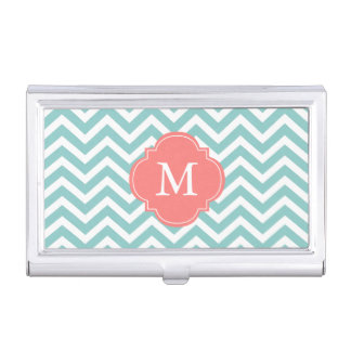 Mint & Coral Zigzags Pattern Monogrammed Business Card Holder