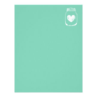 Mint country chic mason jar wedding stationery personalized letterhead