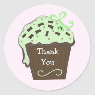 Mint Cupcake Thank You Classic Round Sticker