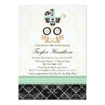 "MINT DAMASK BABY CARRIAGE BABY SHOWER 5"" X 7"" INVITATION CARD"