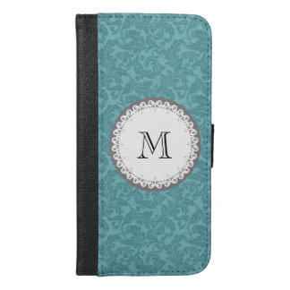 Mint damask Cute trendy girly monogram iPhone 6/6s Plus Wallet Case