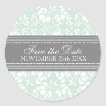Mint Damask Save the Date Envelope Seal Sticker