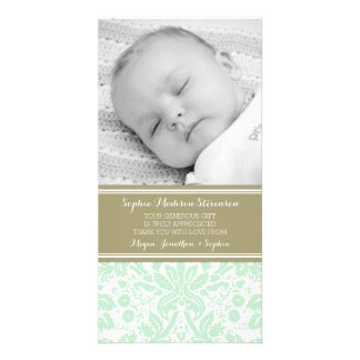 Mint Damask Thank You Baby Shower Photo Cards