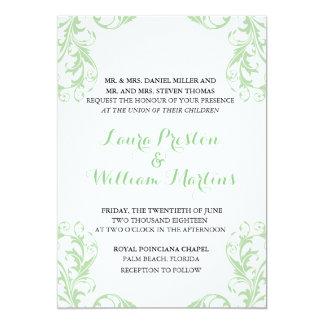 Mint Damask Wedding Invitation